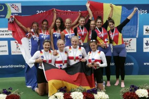 The podium of the JW4x at the 2011 Junior World Rowing Champions