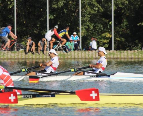 WM 2018: Halbfinale im M2x mit Lars Hartig (l). Foto: Kim Koltermann