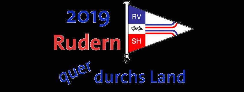 stilisierte Flagge des Ruderverband Schleswig-Holstein umgeben vom Schriftzug 2019 Rudern quer durchs Land